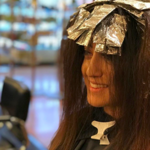 Foil highlights on Brunette hair